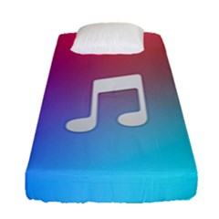 Tunes Sign Orange Purple Blue White Music Notes Fitted Sheet (single Size)