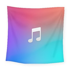 Tunes Sign Orange Purple Blue White Music Notes Square Tapestry (large)