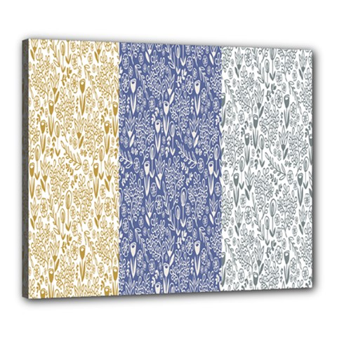 Flower Floral Grey Blue Gold Tulip Canvas 24  X 20