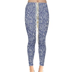 Flower Floral Grey Blue Gold Tulip Classic Winter Leggings