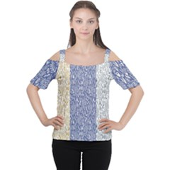 Flower Floral Grey Blue Gold Tulip Women s Cutout Shoulder Tee