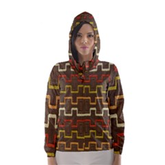 Fabric Texture Vintage Retro 70s Zig Zag Pattern Hooded Wind Breaker (women) by Simbadda