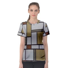 Fabric Textures Fabric Texture Vintage Blocks Rectangle Pattern Women s Sport Mesh Tee