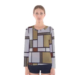 Fabric Textures Fabric Texture Vintage Blocks Rectangle Pattern Women s Long Sleeve Tee by Simbadda