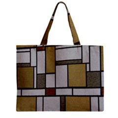 Fabric Textures Fabric Texture Vintage Blocks Rectangle Pattern Zipper Mini Tote Bag by Simbadda