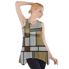 Fabric Textures Fabric Texture Vintage Blocks Rectangle Pattern Side Drop Tank Tunic by Simbadda