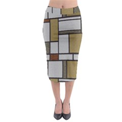Fabric Textures Fabric Texture Vintage Blocks Rectangle Pattern Midi Pencil Skirt by Simbadda