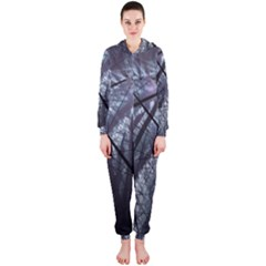 Fractal Art Picture Definition  Fractured Fractal Texture Hooded Jumpsuit (ladies)