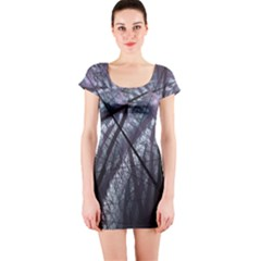 Fractal Art Picture Definition  Fractured Fractal Texture Short Sleeve Bodycon Dress by Simbadda