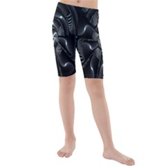 Fractal Disk Texture Black White Spiral Circle Abstract Tech Technologic Kids  Mid Length Swim Shorts