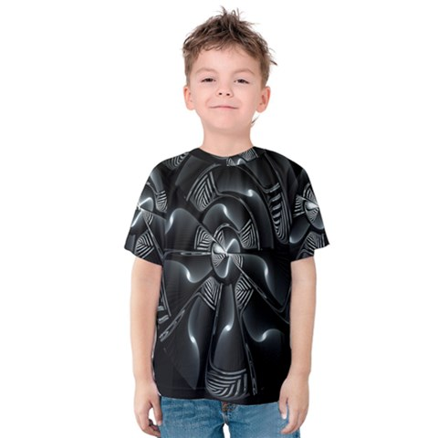 Fractal Disk Texture Black White Spiral Circle Abstract Tech Technologic Kids  Cotton Tee by Simbadda