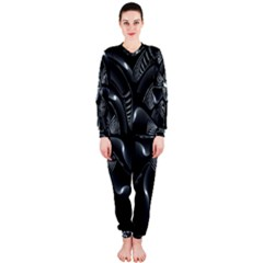 Fractal Disk Texture Black White Spiral Circle Abstract Tech Technologic Onepiece Jumpsuit (ladies)