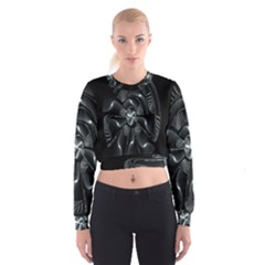Fractal Disk Texture Black White Spiral Circle Abstract Tech Technologic Women s Cropped Sweatshirt