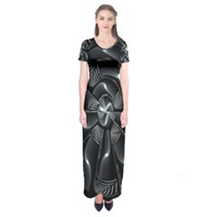 Fractal Disk Texture Black White Spiral Circle Abstract Tech Technologic Short Sleeve Maxi Dress
