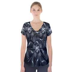 Fractal Disk Texture Black White Spiral Circle Abstract Tech Technologic Short Sleeve Front Detail Top by Simbadda