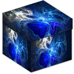 Ghost Fractal Texture Skull Ghostly White Blue Light Abstract Storage Stool 12   by Simbadda