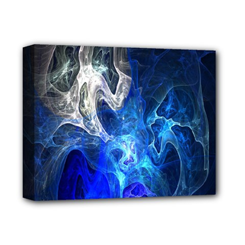 Ghost Fractal Texture Skull Ghostly White Blue Light Abstract Deluxe Canvas 14  X 11