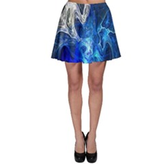 Ghost Fractal Texture Skull Ghostly White Blue Light Abstract Skater Skirt by Simbadda