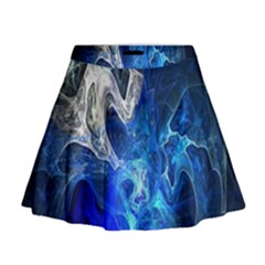Ghost Fractal Texture Skull Ghostly White Blue Light Abstract Mini Flare Skirt by Simbadda