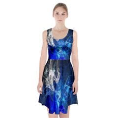 Ghost Fractal Texture Skull Ghostly White Blue Light Abstract Racerback Midi Dress by Simbadda
