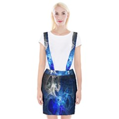 Ghost Fractal Texture Skull Ghostly White Blue Light Abstract Suspender Skirt by Simbadda