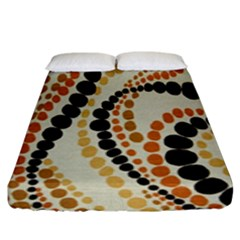 Polka Dot Texture Fabric 70s Orange Swirl Cloth Pattern Fitted Sheet (king Size) by Simbadda