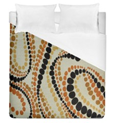 Polka Dot Texture Fabric 70s Orange Swirl Cloth Pattern Duvet Cover (queen Size) by Simbadda