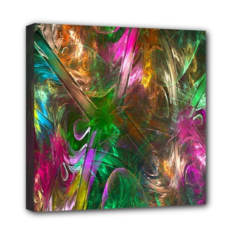 Fractal Texture Abstract Messy Light Color Swirl Bright Mini Canvas 8  X 8  by Simbadda