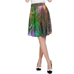 Fractal Texture Abstract Messy Light Color Swirl Bright A Line Skirt by Simbadda