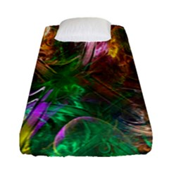 Fractal Texture Abstract Messy Light Color Swirl Bright Fitted Sheet (single Size) by Simbadda
