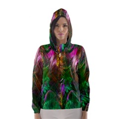 Fractal Texture Abstract Messy Light Color Swirl Bright Hooded Wind Breaker (women) by Simbadda