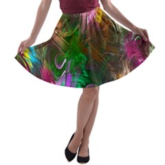 Fractal Texture Abstract Messy Light Color Swirl Bright A Line Skater Skirt by Simbadda