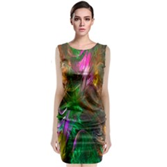 Fractal Texture Abstract Messy Light Color Swirl Bright Classic Sleeveless Midi Dress by Simbadda