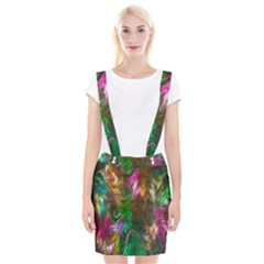 Fractal Texture Abstract Messy Light Color Swirl Bright Suspender Skirt by Simbadda