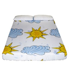 Sunshine Tech White Fitted Sheet (queen Size) by Simbadda