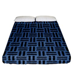 Woven1 Black Marble & Blue Denim (r) Fitted Sheet (california King Size) by trendistuff