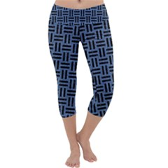 Woven1 Black Marble & Blue Denim (r) Capri Yoga Leggings