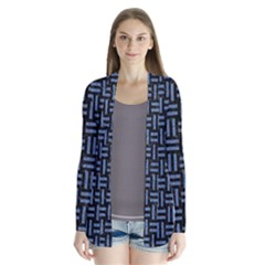 Woven1 Black Marble & Blue Denim Drape Collar Cardigan by trendistuff