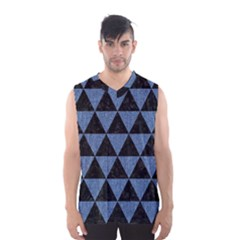 Triangle3 Black Marble & Blue Denim Men s Basketball Tank Top by trendistuff