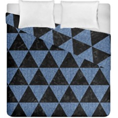 Triangle3 Black Marble & Blue Denim Duvet Cover Double Side (king Size) by trendistuff