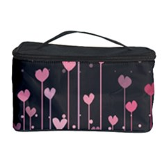 Pink Hearts On Black Background Cosmetic Storage Case