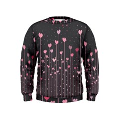 Pink Hearts On Black Background Kids  Sweatshirt by TastefulDesigns