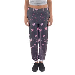 Pink Hearts On Black Background Women s Jogger Sweatpants