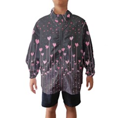 Pink Hearts On Black Background Wind Breaker (kids)