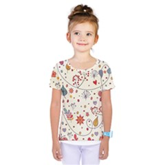 Spring Floral Pattern With Butterflies Kids  One Piece Tee