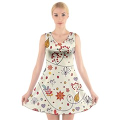 Spring Floral Pattern With Butterflies V Neck Sleeveless Skater Dress