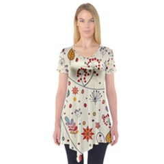 Spring Floral Pattern With Butterflies Short Sleeve Tunic