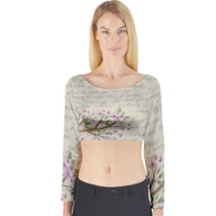 Cherry Blossom Long Sleeve Crop Top by Valentinaart