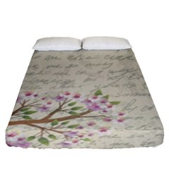 Cherry Blossom Fitted Sheet (queen Size) by Valentinaart
