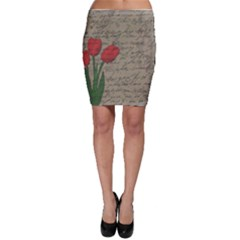 Vintage Tulips Bodycon Skirt by Valentinaart